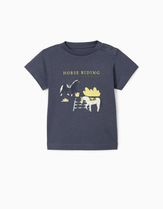T-Shirt para Bebé Menino 'Horses', Azul