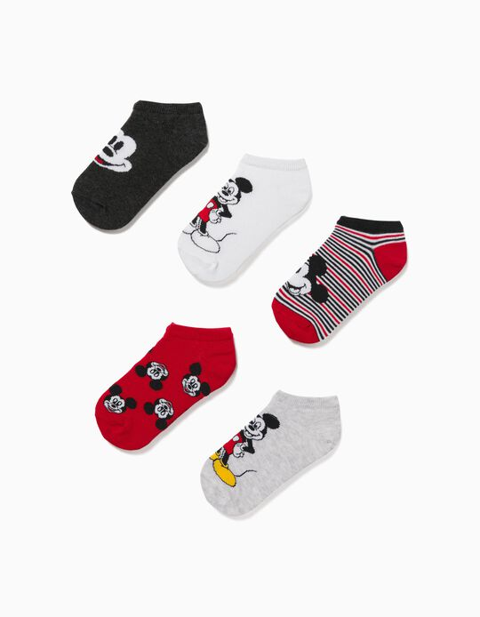 5 Pairs of Ankle Socks for Boys 'Mickey', Multicolour