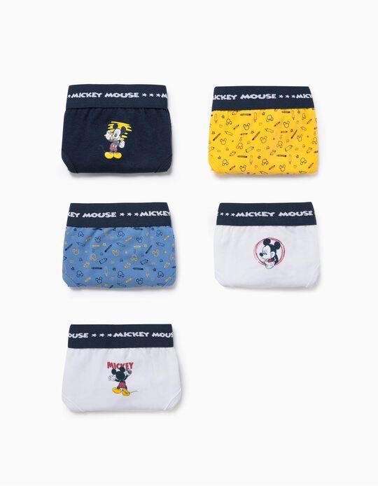 5 slips garçon 'Mickey', bleu/blanc/jaune