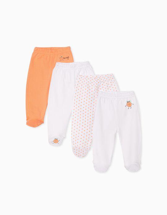 4 pantalons à pieds bébé 'Orange', blanc/orange
