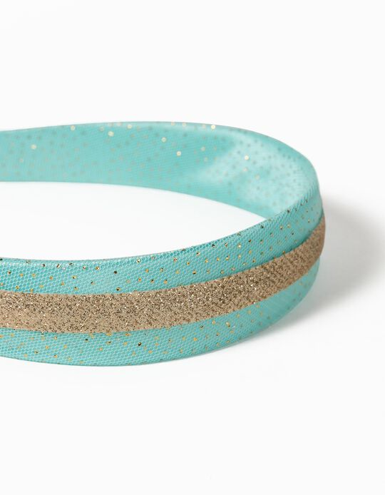 Tulle Alice Band for Girls, Aqua Green/Gold
