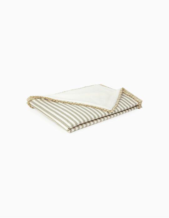 Manta Julene Pielsa Baby Lace Ending Stripes Brown 70x90cm