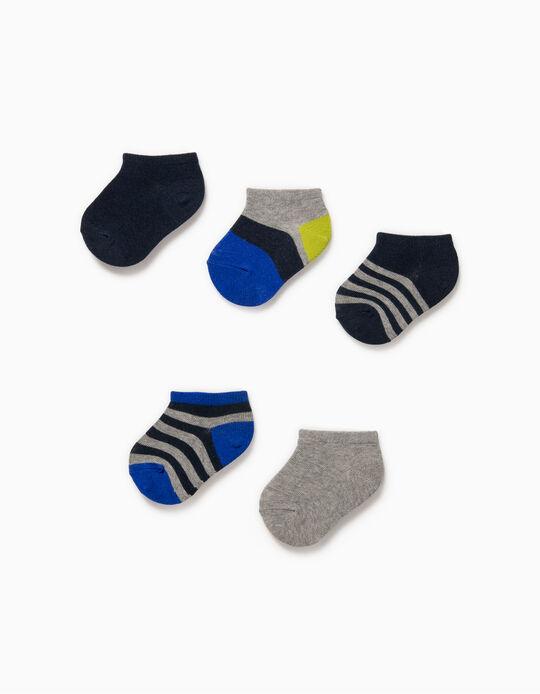 5 Pares de Calcetines Cortos para Bebé Niño 'Stripes', Multicolor
