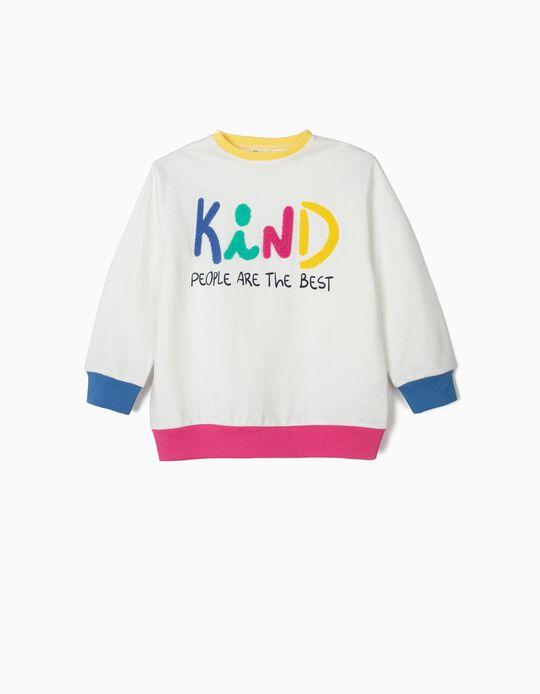 Sweatshirt para Menina 'Kind', Branco