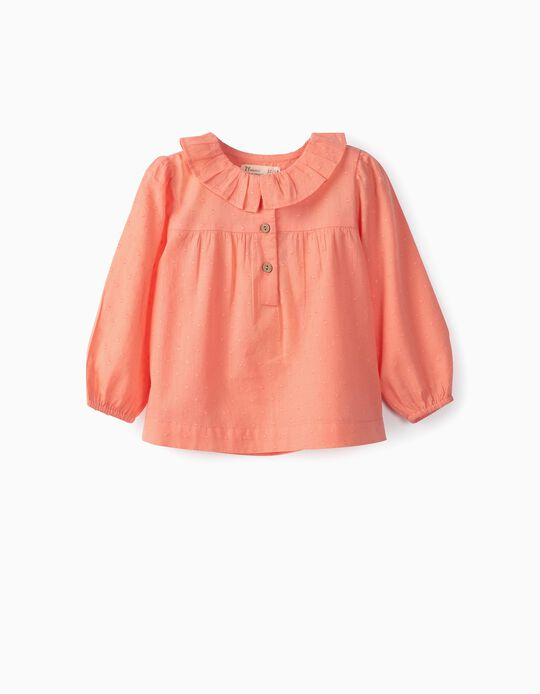 Blusa para Bebé Menina 'Swiss Dot', Coral