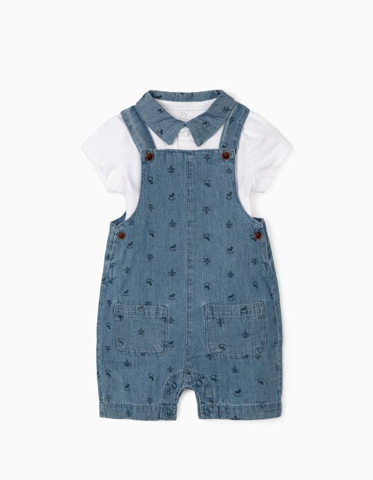 Dungarees and Polo- Bodysuit for Newborn Baby Boys, White/Blue