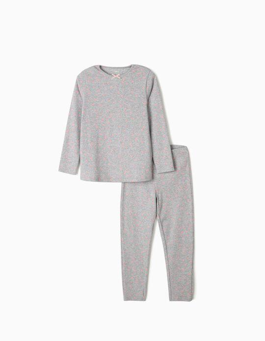 Pijama Canelado para Menina 'Stars', Cinza/Rosa