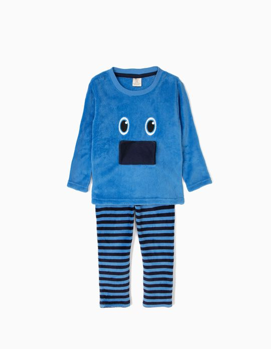 Pijama Camiseta y Pantalón Little Monster Azul