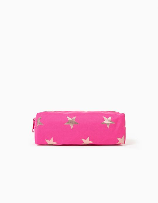 Pencil Case for Girls 'Stars', Pink/Golden