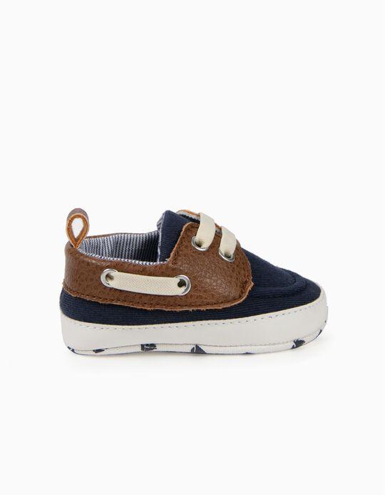 Sapatos Combinados para Recém-Nascido, Azul e Castanho