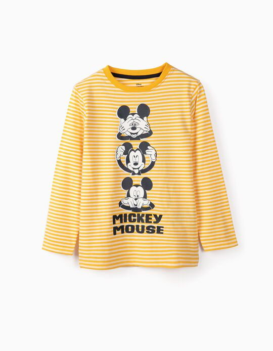 T-shirt Manga Comprida para Menino 'Mickey', Branco e Amarelo