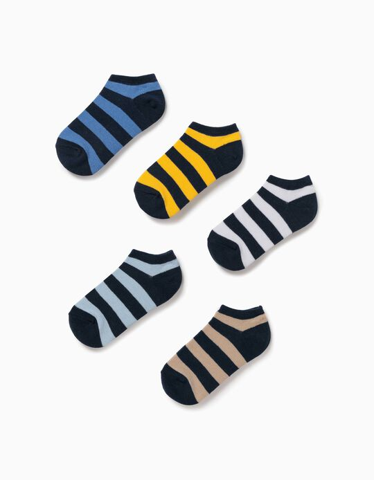 5 Pairs of Ankle Socks for Boys, Multicoloured