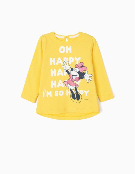 T-shirt de Manga Comprida para Bebé Menina 'Happy Minnie', Amarelo