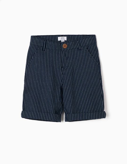 Striped Shorts for Boys, Dark Blue