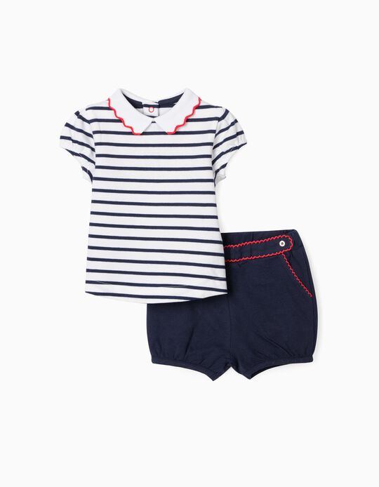 Piqué Knit Shorts and Polo Shirt for Baby Girls, White/Blue