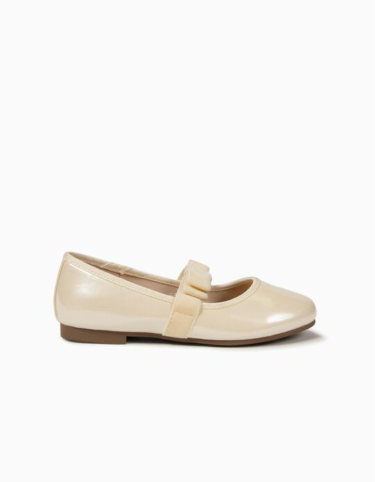 Varnished Ballerinas with Bow for Girls, Pearl White