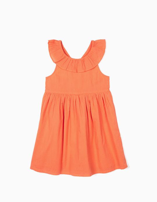 Robe rayée fille, orange