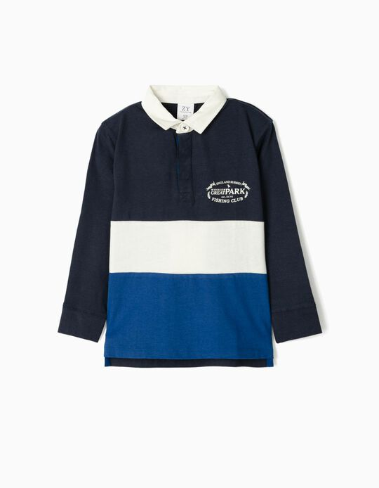 Long Sleeve Polo Shirt for Boys, 'Fishing Club', Dark Blue