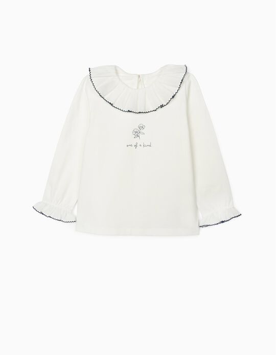 T-Shirt de Manga Comprida para Menina 'One', Branco