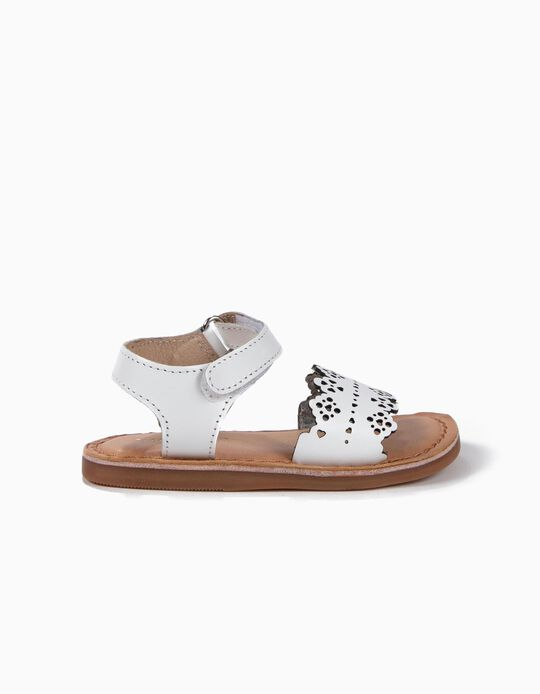 Perforated Leather Sandals for Baby Girls, White