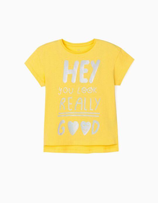 Camiseta para Niña 'Hey', Amarillo