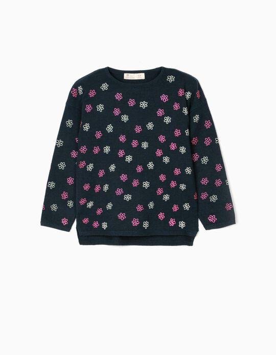 Camisola de Malha para Menina 'Flowers', Azul Escuro