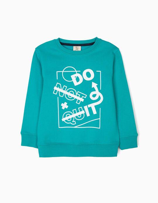 Sweatshirt para Menino 'Do It', Verde-Azulado