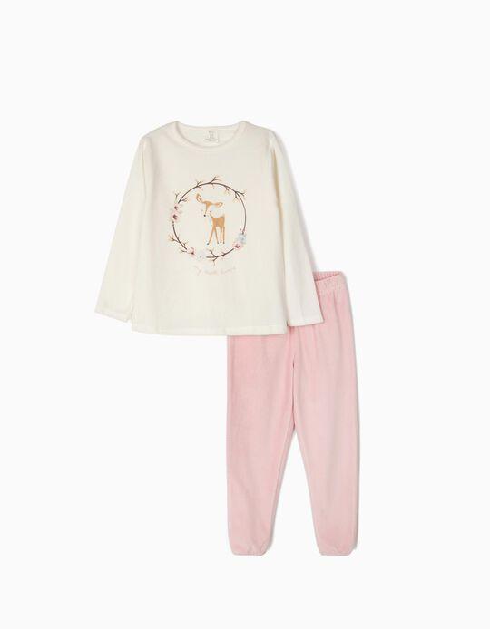 Pijama Veludo para Menina 'My Sweet Home', Branco e Rosa