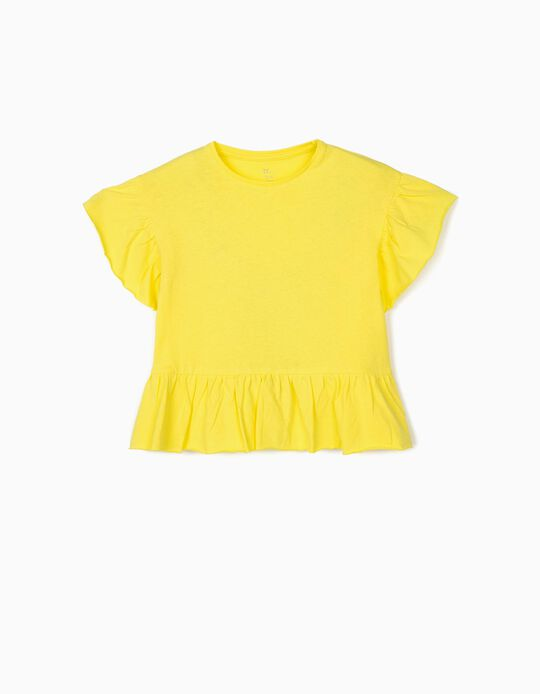 T-shirt with Ruffles for Girls, Yellow