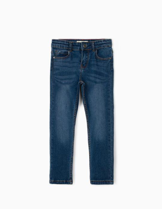 Calças de Ganga Slim Fit para Menino, Azul
