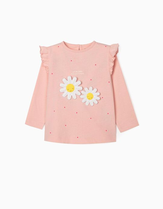 Long Sleeve Top for Baby Girls, 'Better Together', Pink