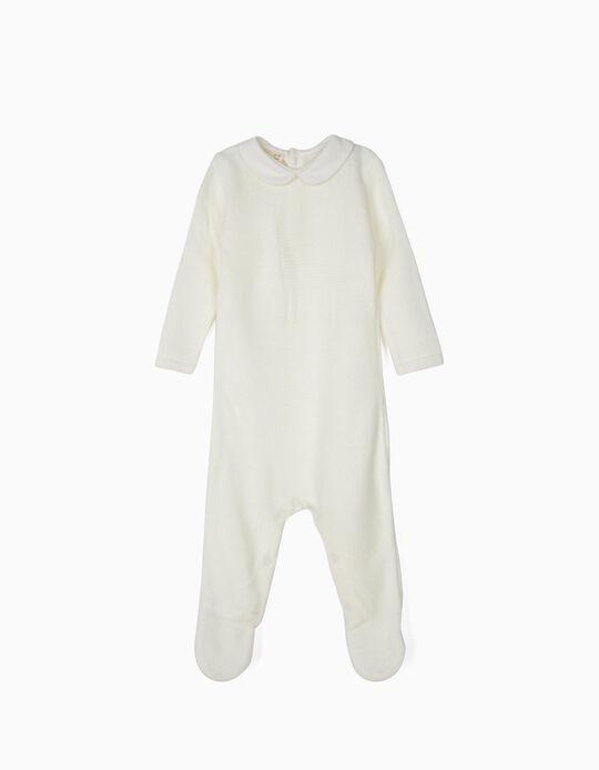 Babygrow de Malha para Recém-Nascido, Branco
