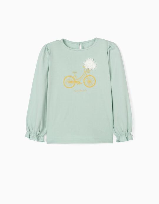 T-shirt Manga Comprida para Menina 'Ride', Verde