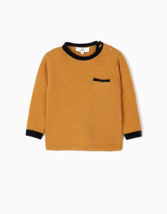 Wool Jumper for Baby Boys, Dark Yellow