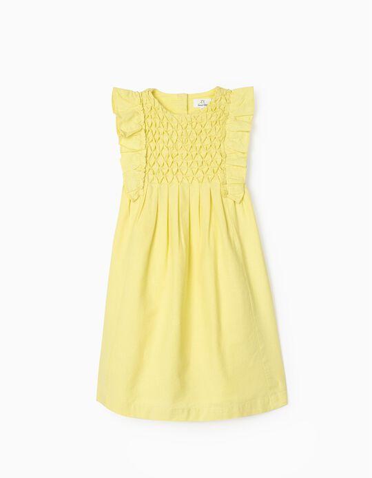 Robe lin fille, jaune