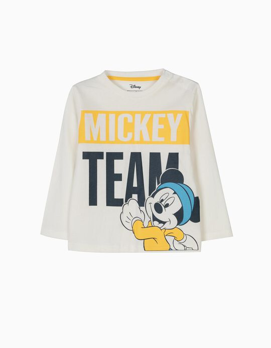Camiseta de Manga Larga Mickey Team Blanca
