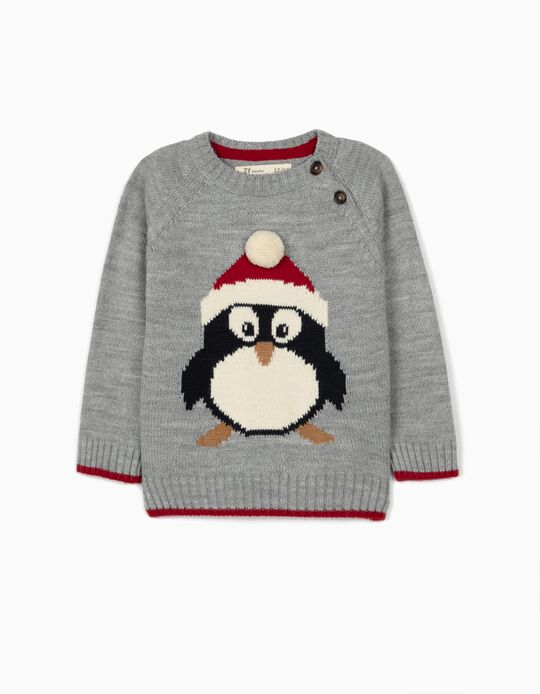 Jumper for Baby Boys, Xmas Penguin, Grey