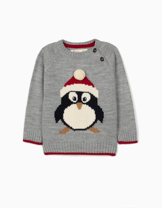 Pull maille bébé garçon 'Christmas Penguin', gris