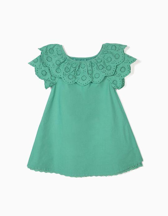 Vestido para Niña con Bordado Inglés, Azul