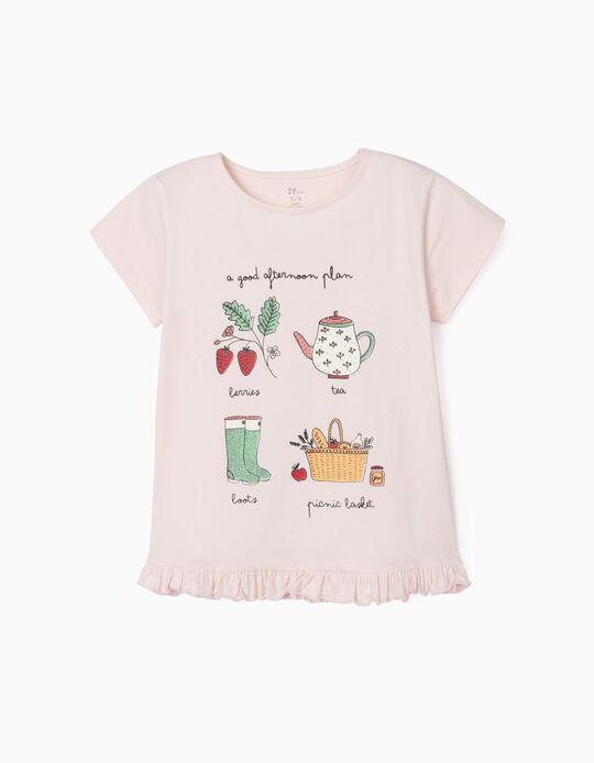 T-Shirt em Algodão Orgânico para Menina, 'Afternoon', Rosa Claro