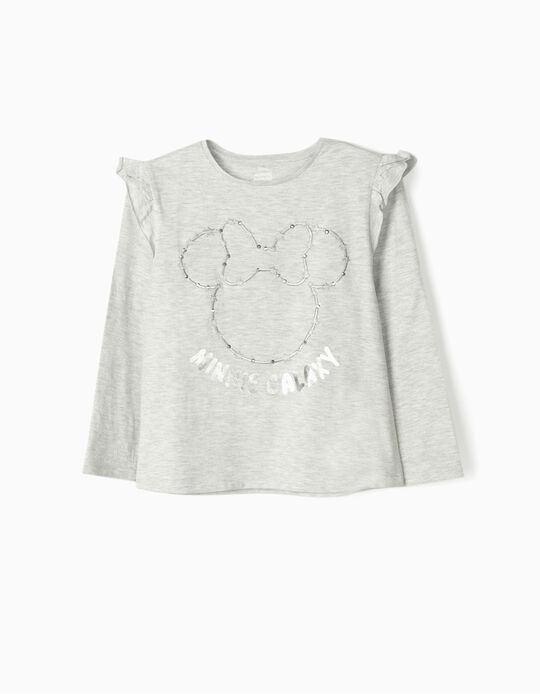 T-shirt manches longues fille 'Minnie Galaxy', gris