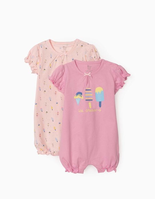 2 Short Sleeve Sleepsuits for Baby Girls, 'Ice Creams', Pink