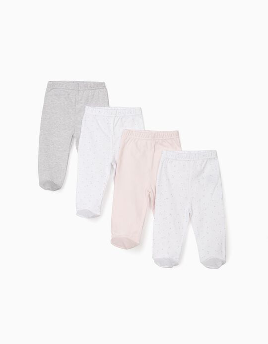 4 Pairs of Footed Trousers for Newborn Baby Girls, Pink/White/Grey