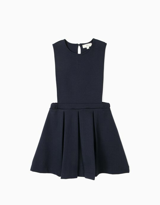 Pinafore Dress for Girls, Dark Blue