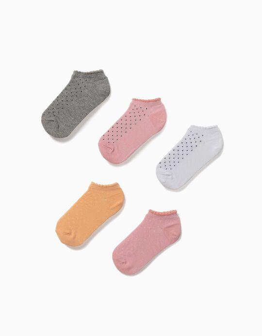 5 paires de socquettes fille 'Dots', multicolore