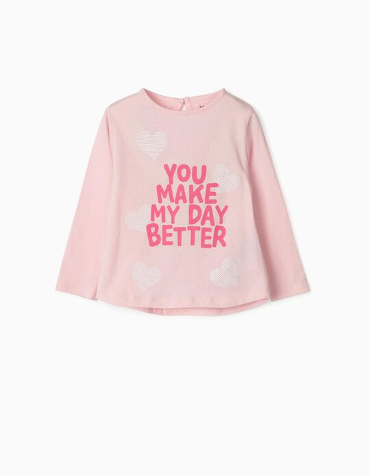 T-shirt manches longues 'Better Day' bébé fille, rose