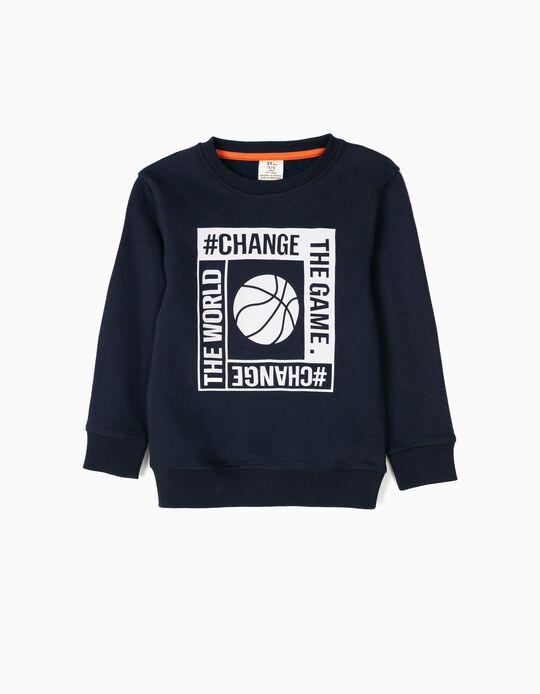Sweatshirt para Menino 'Game', Azul Escuro