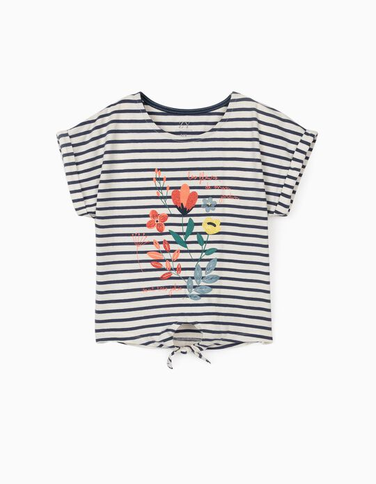 T-shirt with Knot at the Front for Girls 'Fleurs', White/Blue
