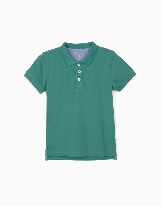 Piqué Knit Polo Shirt for Boys, Green
