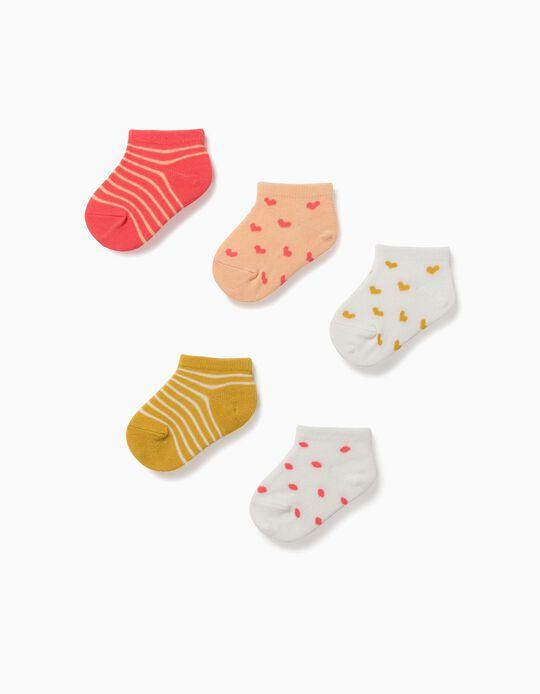 5 Pares Meias Curtas para Bebé Menina 'Hearts & Dots', Multicolor